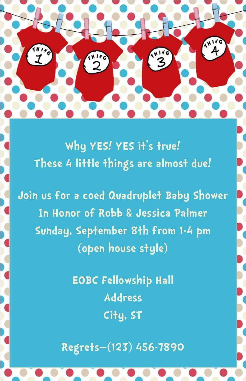 Thing 1 Thing 2 Baby Shower Invitation Great for Twins or Multiples ...