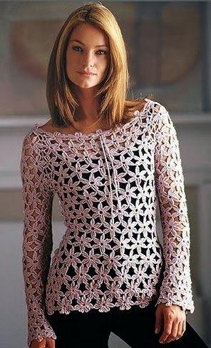 Crochê Gráficos boat neck long sleeve pattern looks like 6 petal ...