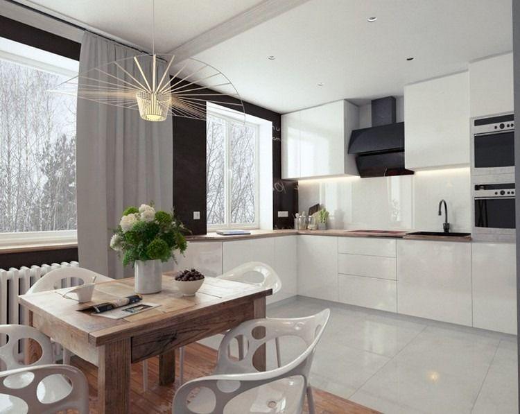 schwarze Wandfarbe, weiße Küchenzeile und Holz Arbeitsplatte ... | {Küchenzeile design holz 62}