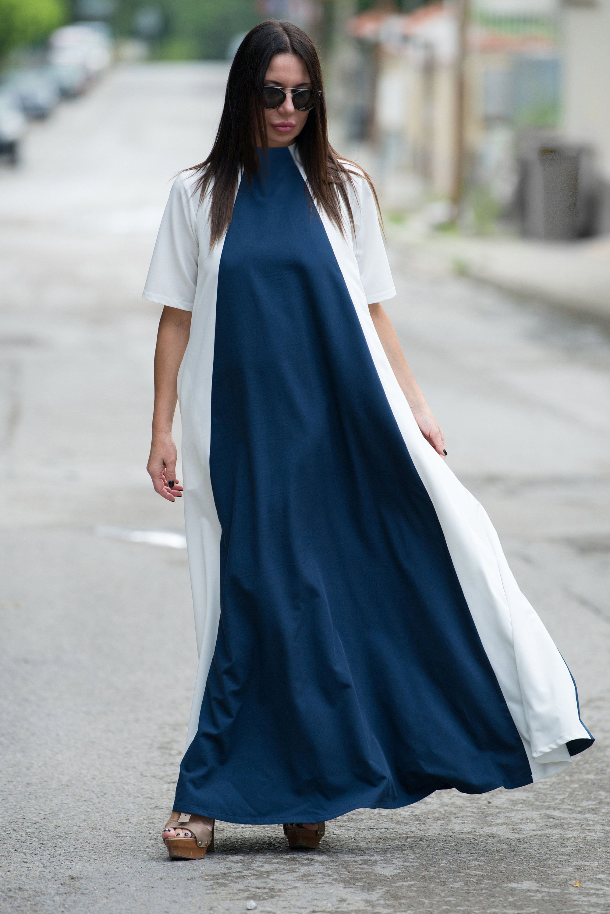 Woman maxi dress formal dress white summer dress blue long dress