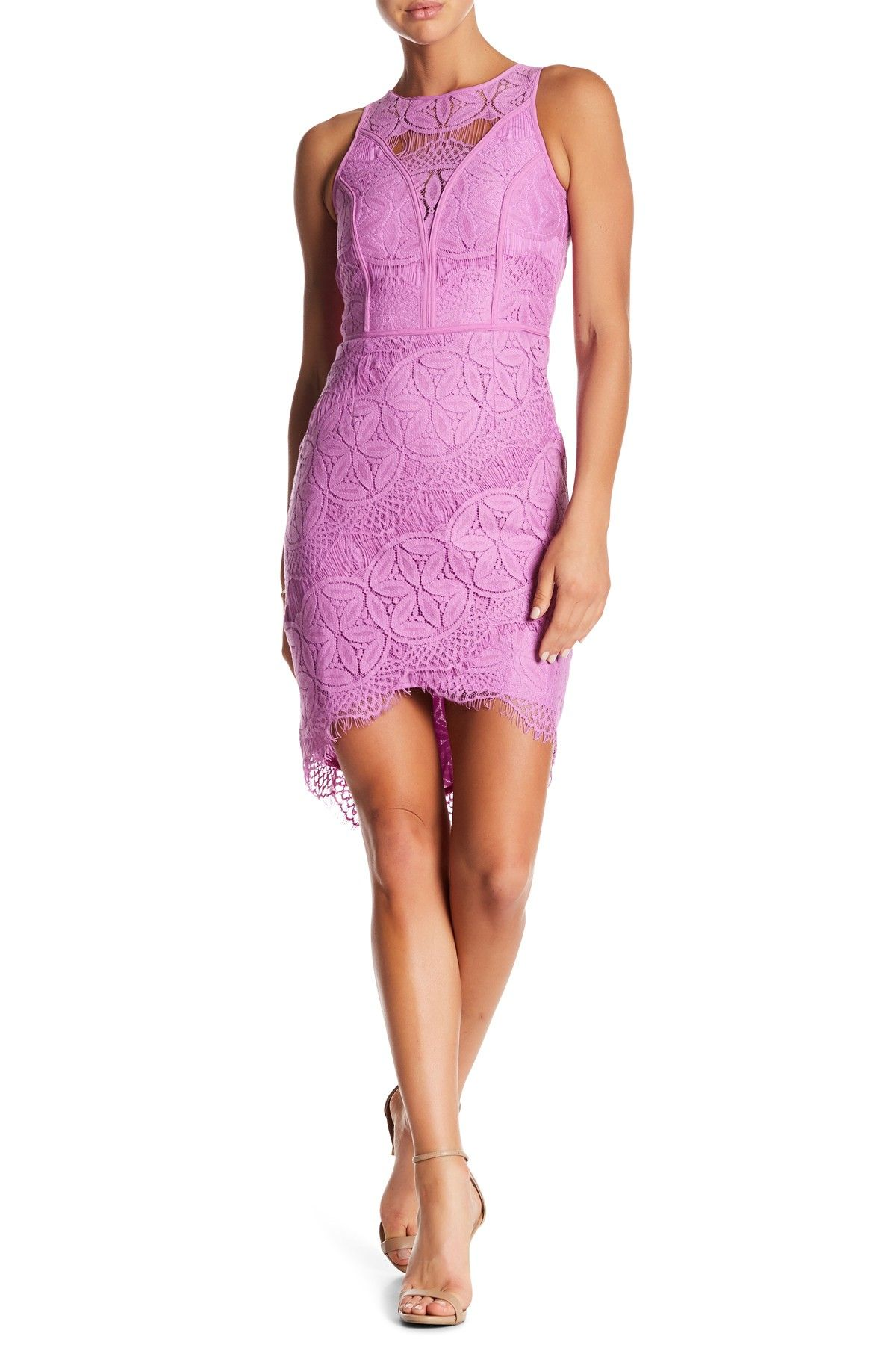 Lace Hi-Lo Sheath Dress