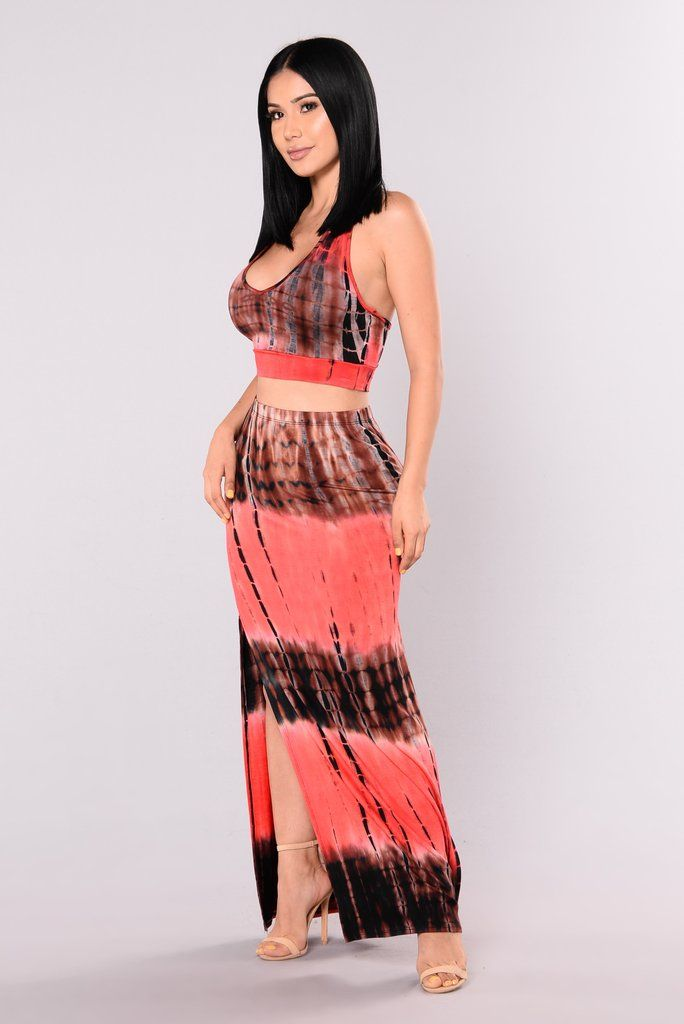 c6067cbb2e20a Canon Tie Dye Set - Red Maxi Skirt Crop Top, Dress Skirt, Fashion Nova