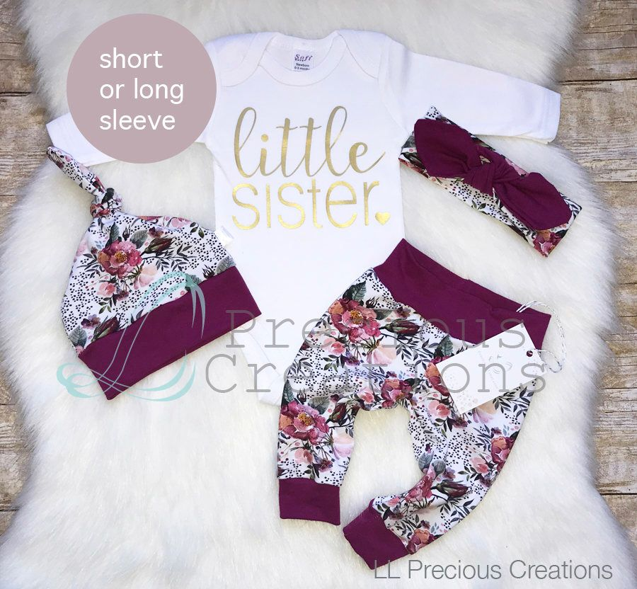 Little Sister, 0-3 Months Baby Sister Matching Outfit Big Sister Long Sleeve Shirt Dress Top Little Sister Sleeping Bag Sleep Gown