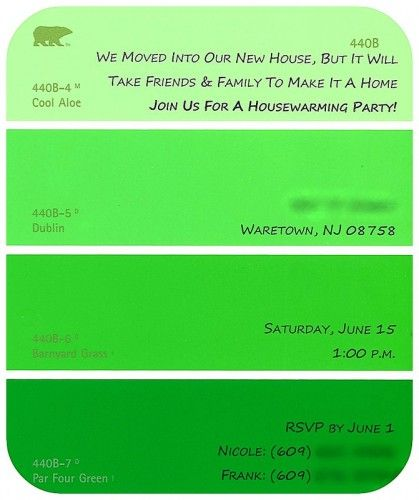 DIY Paint Swatch Housewarming Invitations Paint swatches House