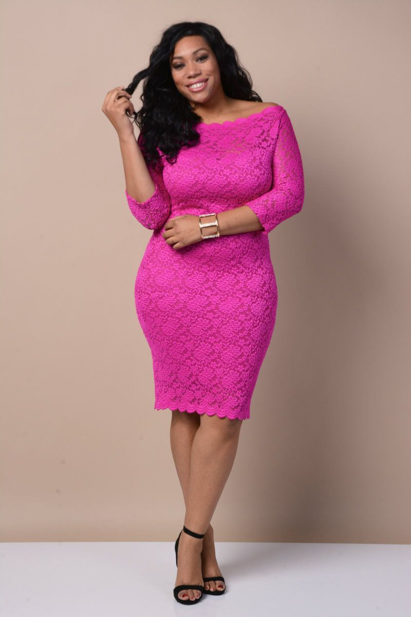 Plus Size Hot Pink Lace Midi Dress Products Pinterest Products