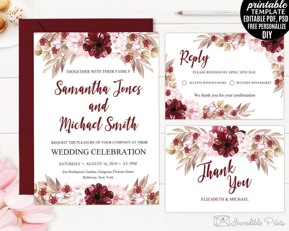 Marsala Wedding Invitation Set Template Printable Burgundy