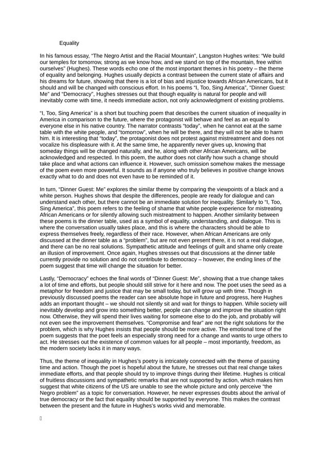 Essay Term Paper A Literary Analysis Of The Essay The Negro Artist And The Racial Mountain  By Langston Hughes  Kibin Examples Of Thesis Statements For English Essays also Critical Essay Thesis Statement A Literary Analysis Of The Essay The Negro Artist And The Racial  Thesis Statement Analytical Essay