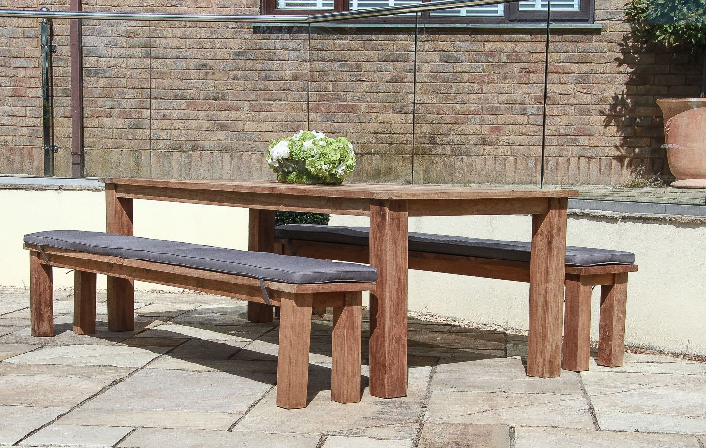 2 4m Reclaimed Teak Open Slatted Dining Table With Benches