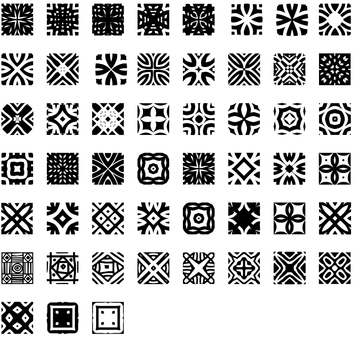 African Pattern Dingbat Font Specimen