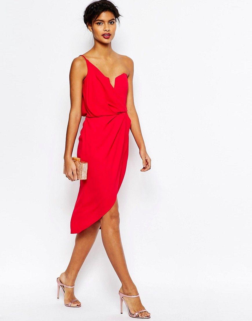 Asos tall wedding guest dresses  Image  of ASOS Asymmetric One Shoulder Wrap Front Pencil Dress