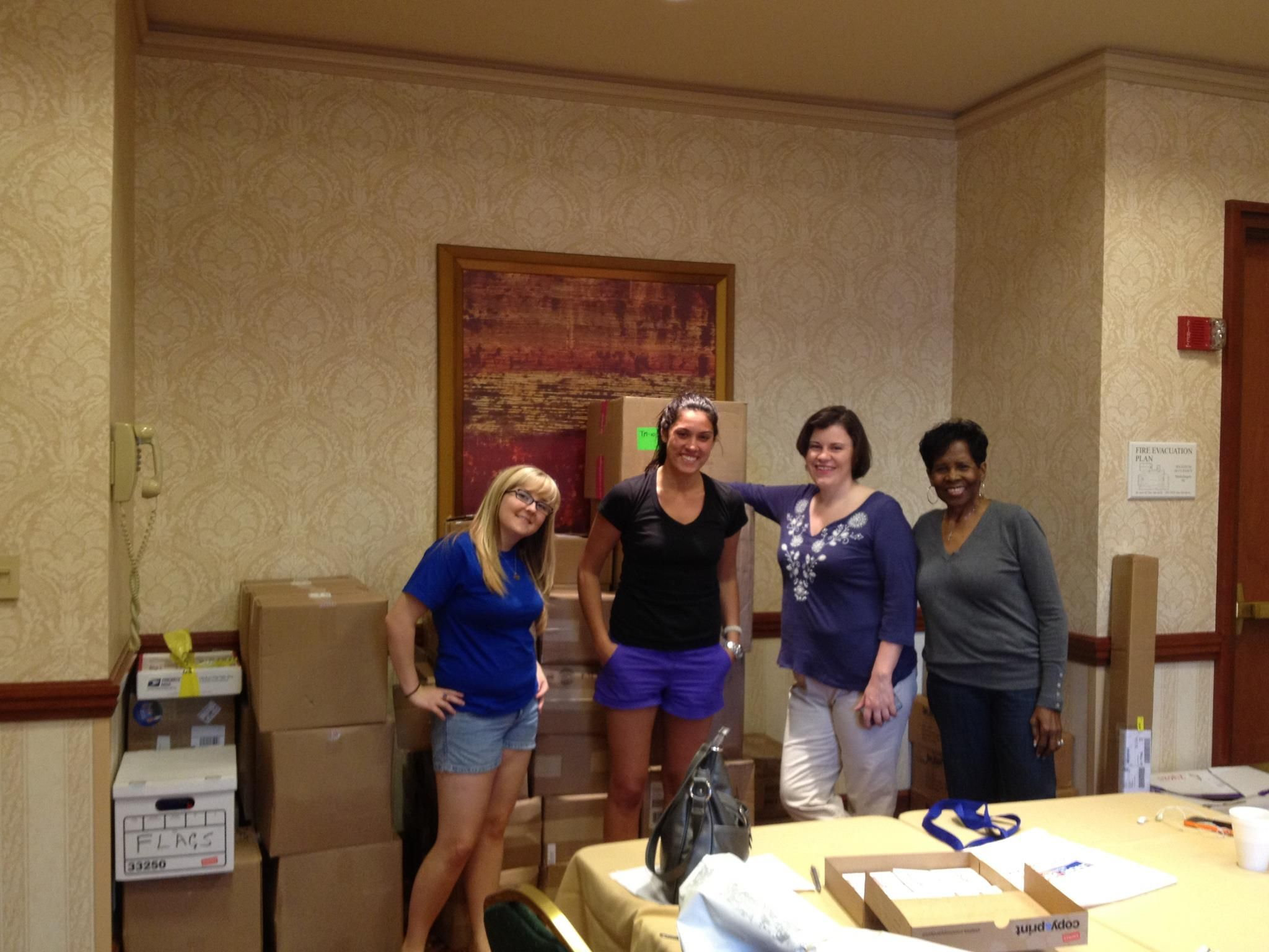 Setting up the staff room at the hotel