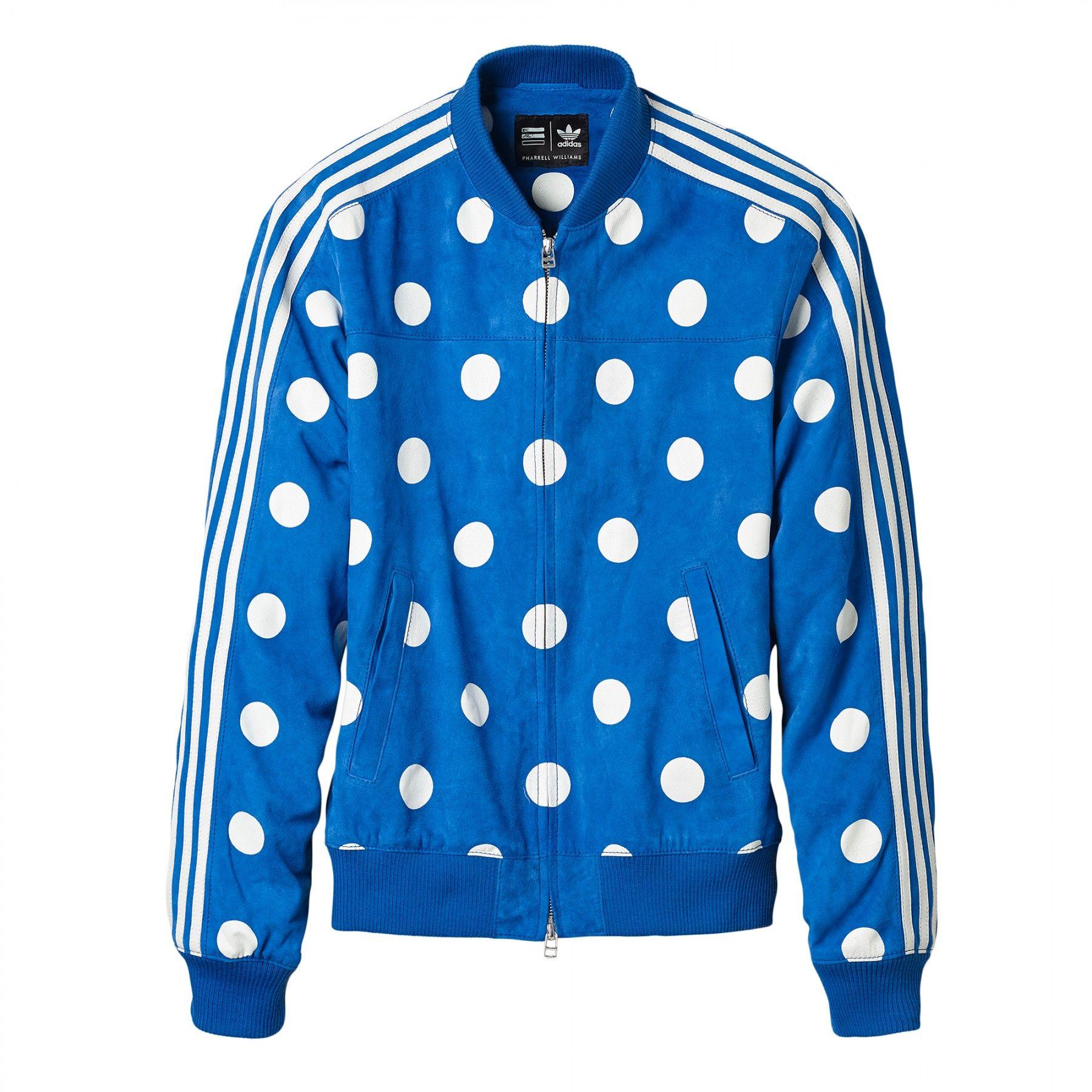 Adidas x Pharrell Williams Leather Jacket (Blue) | Jackets
