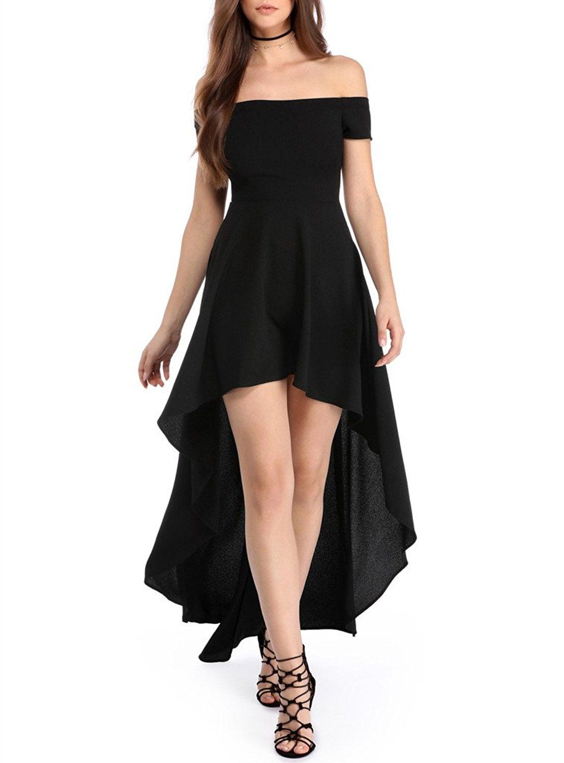 ac3c4388c96 Sidefeel Women Off Shoulder High Low Maxi Party Dresses at Amazon Women s  Clothing store