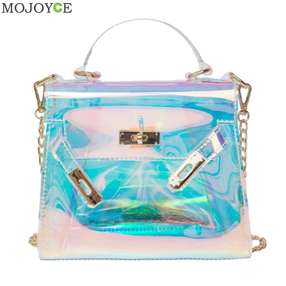 Women Holographic Bag Clear Transparent Tote Hologram Handbag Purse Laser Clutch