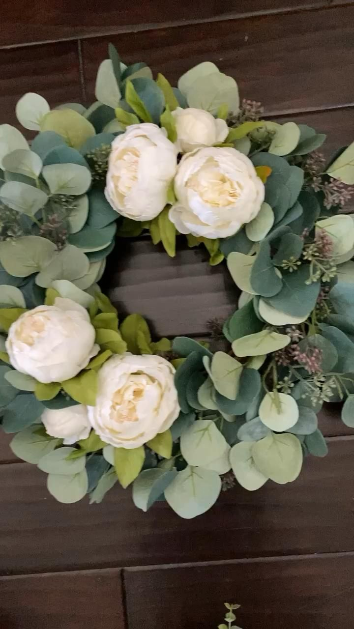 Photo of Eucalyptus and peony wreath