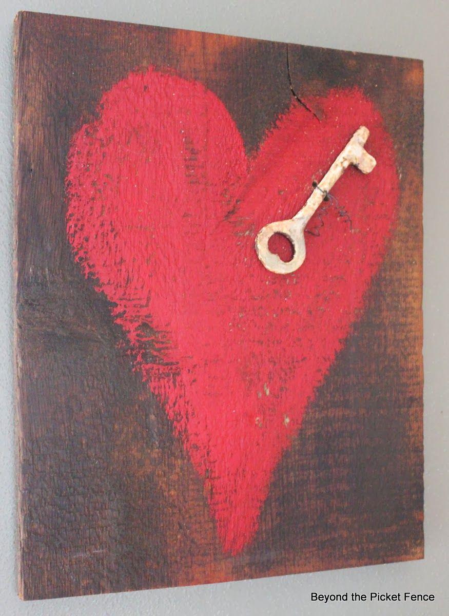 Key To My Heart Reclaimed Wood Heart Art Httpbec4