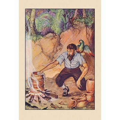 Buyenlarge Robinson Crusoe I Wanted No Sort Of Earthenware By Milo Winter Framed Painting Print Vintage Happy New Year New Year Postcard New Year Greetings