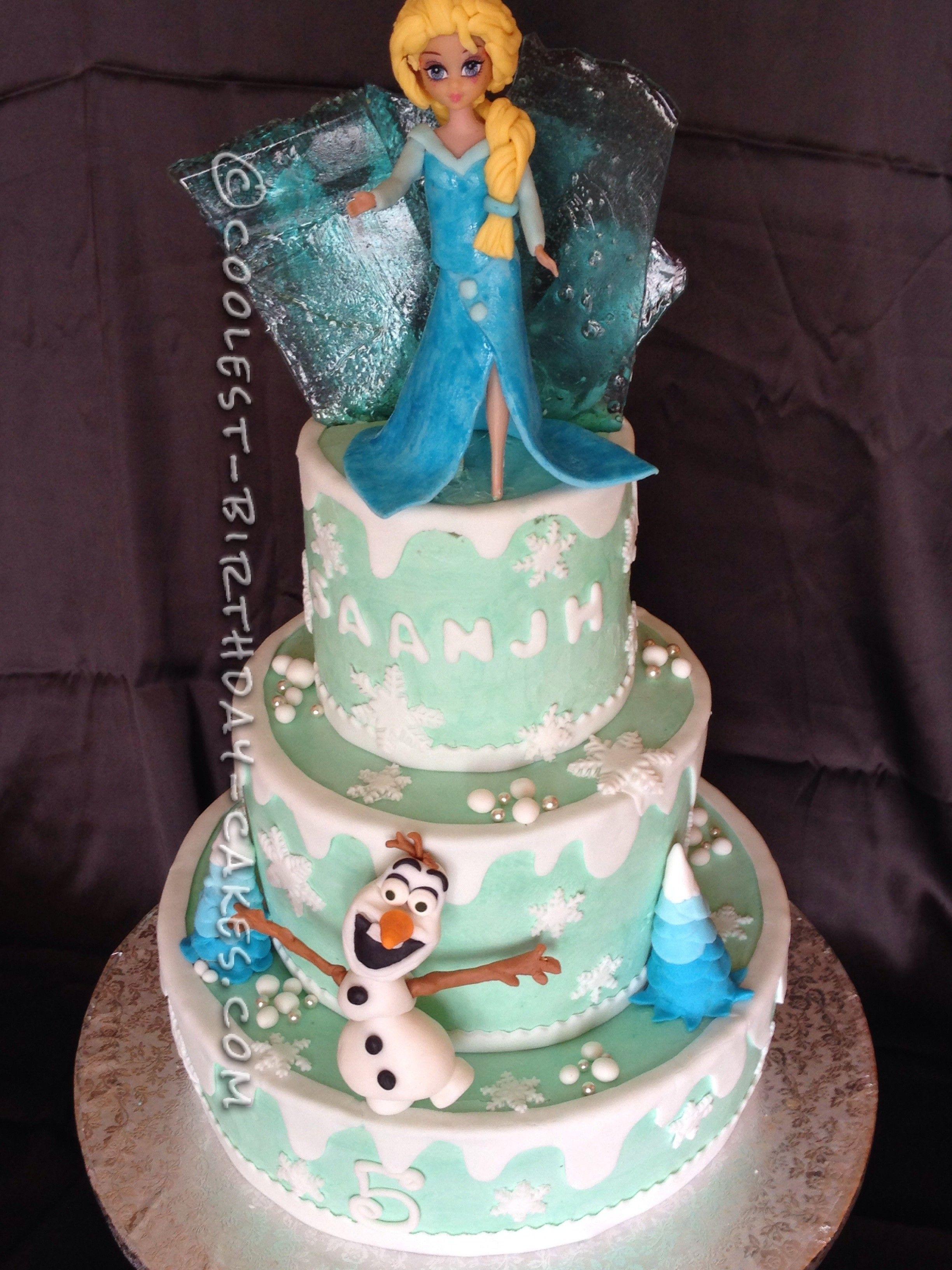 Coolest Frozen Theme Cake for a Little Girl Homemade birthday