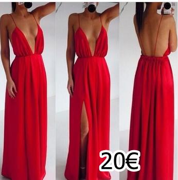 6153f44d6 vestido largo en color rojo abierto al pecho y en una pierna ...