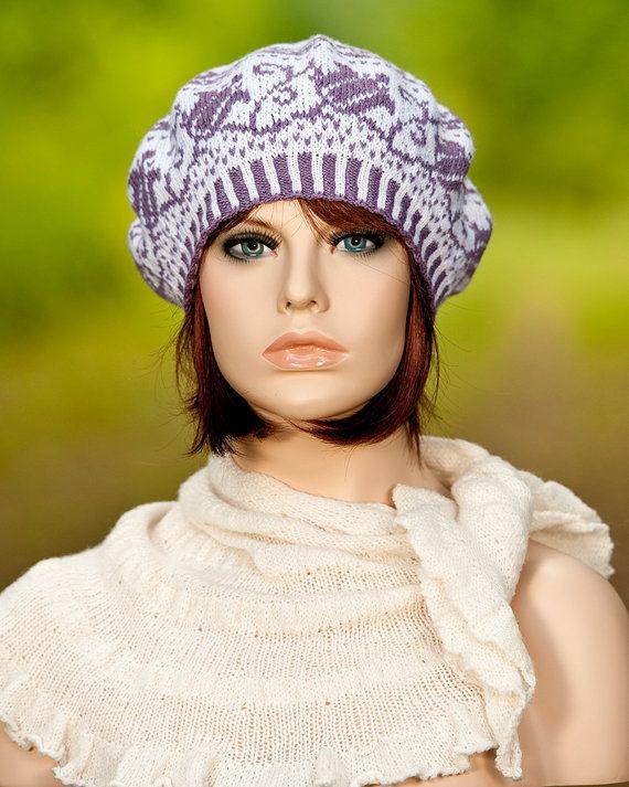 Knitted fair isle beret, fair isle hat, jacquard, motifs of flower ...