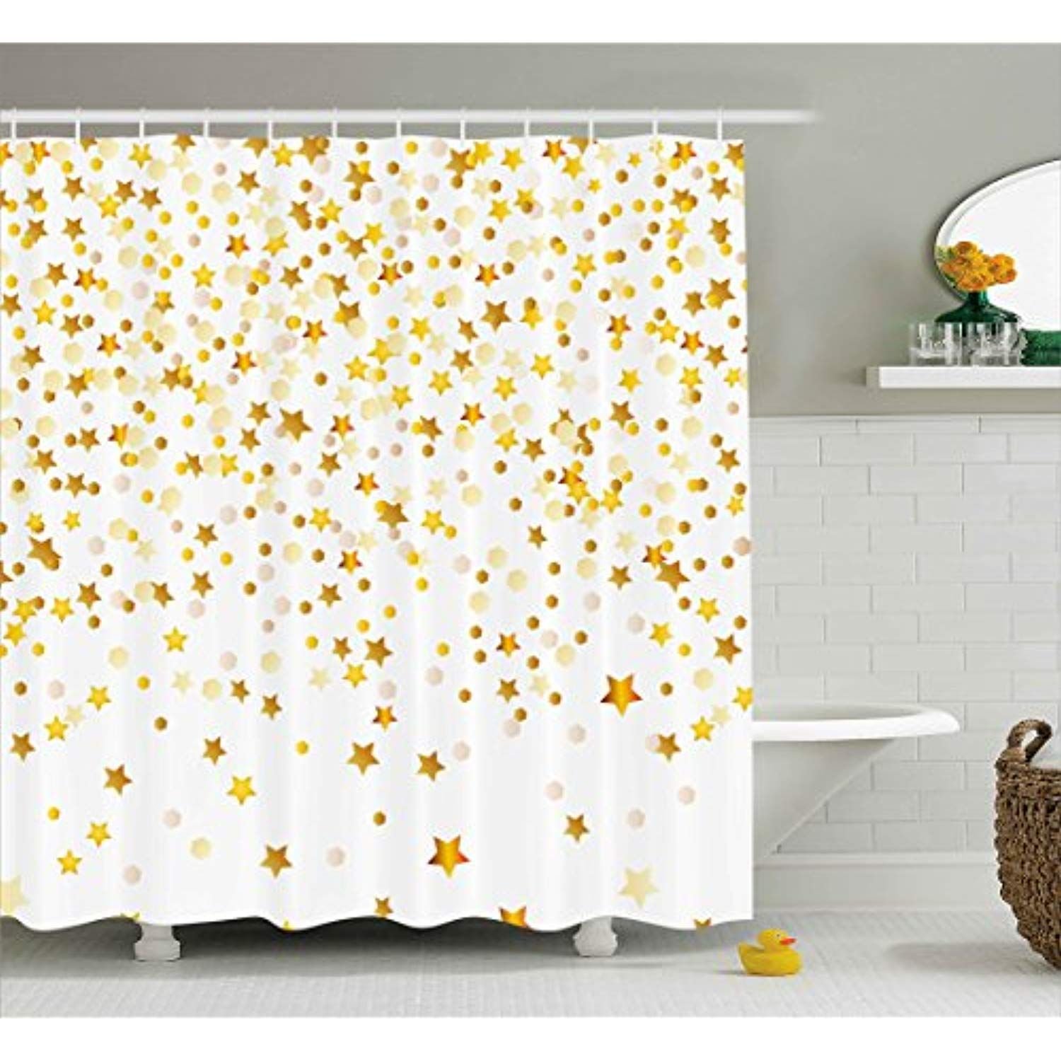 Ambesonne Abstract Decor Shower Curtain By Bunch Of Shiny Stars Backdrop Inspirational Lucky Lifes Abstract Shower Curtain Cool Shower Curtains Shower Curtain