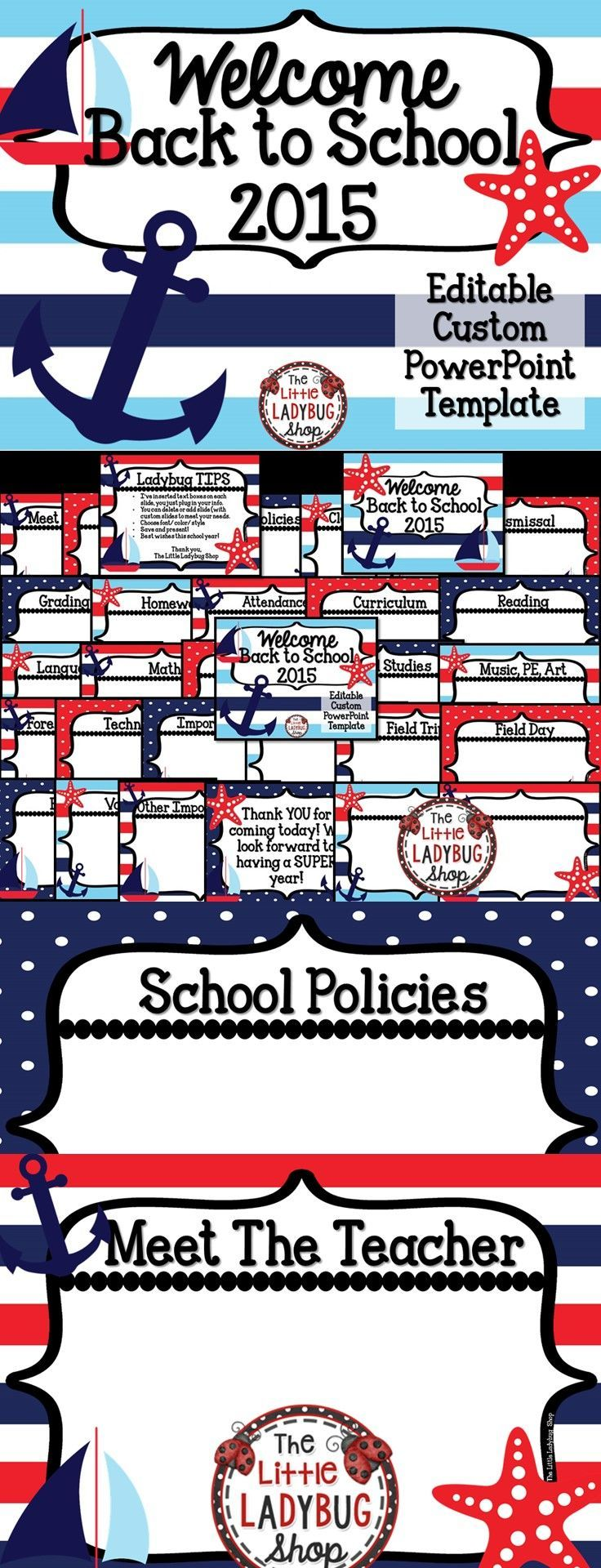 nautical theme back to school powerpoint for open house and meet, Modern powerpoint