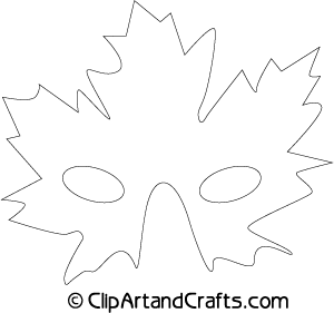 Printable Maple Leaf Eye Mask Craft Pattern In Black And White Outlines.  Mask Templates For Adults