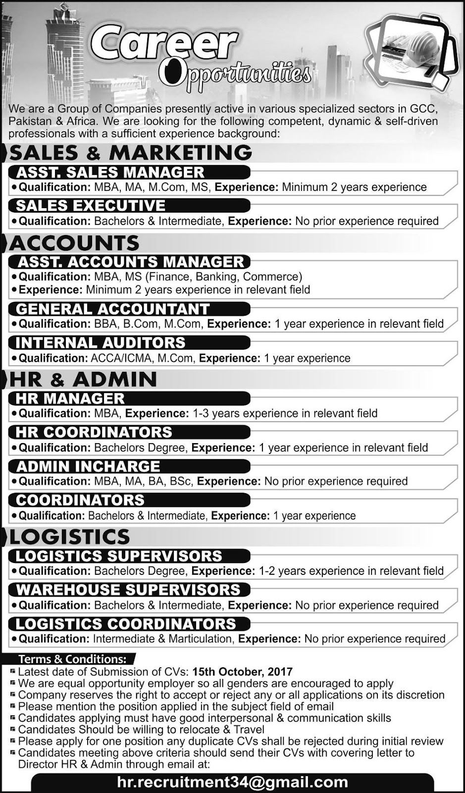 Jobs In Gcc Group Of Companies Pakistan And Africa Apply Via