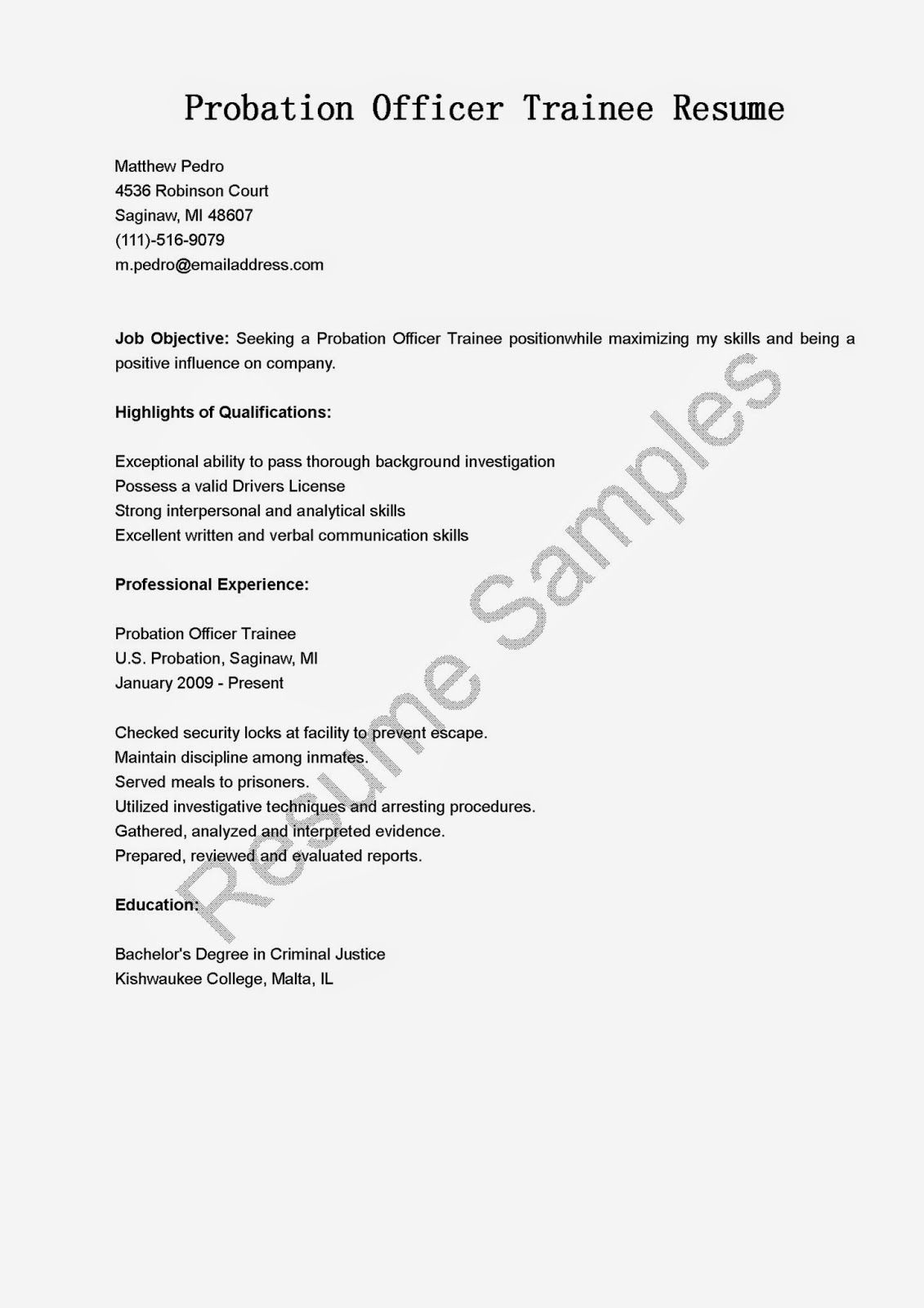 Probation Officer Trainee Resume Sample