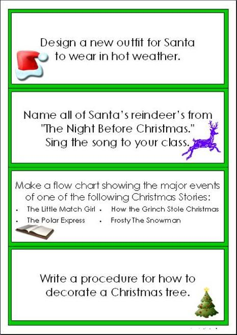 Christmas Writing Task Cards Imaginative Teacher For Teaching