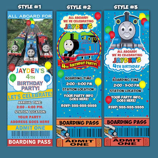Customized Ticket Style Thomas The Train Birthday Invitation PBS - Party invitation template: train party invitations templates