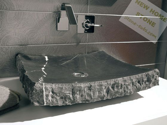 Black Marble Bathroom Sink Rectangular Shape One Piece Marble Cut Out  Counter Wash Basin Simple Design