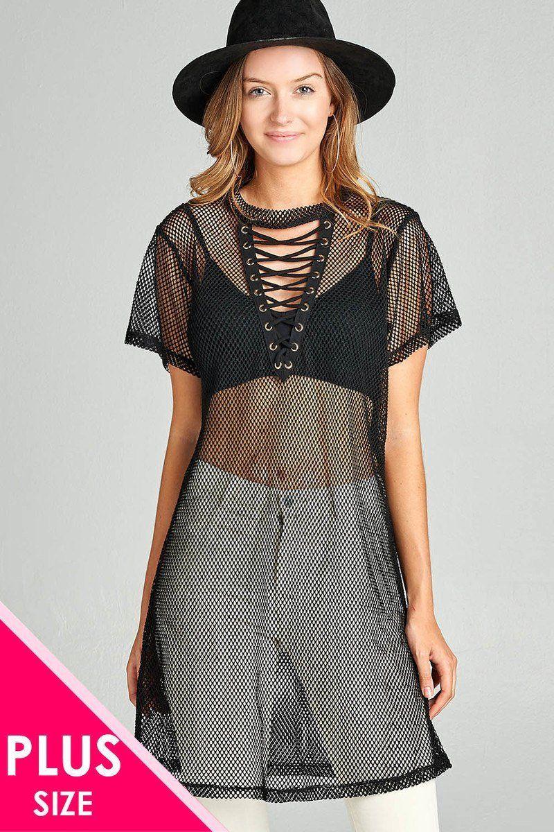 Plus size short sleeve criss corss lace-up sheer fishnet ...