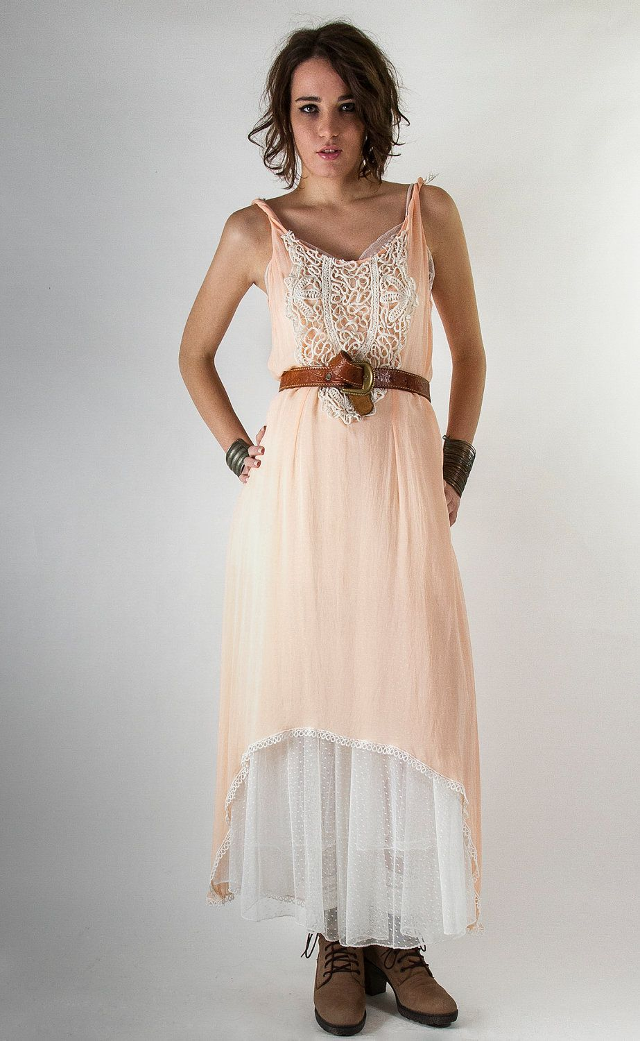 Peach rose georgette hilow dress with white vintage hand embroidery