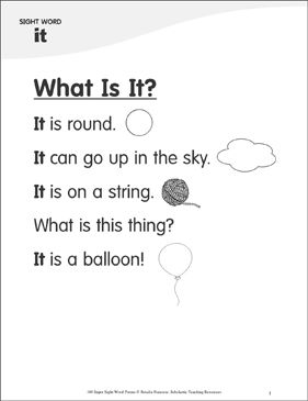 "Awesome What Is It?: Poem for Sight Word ""it"" 