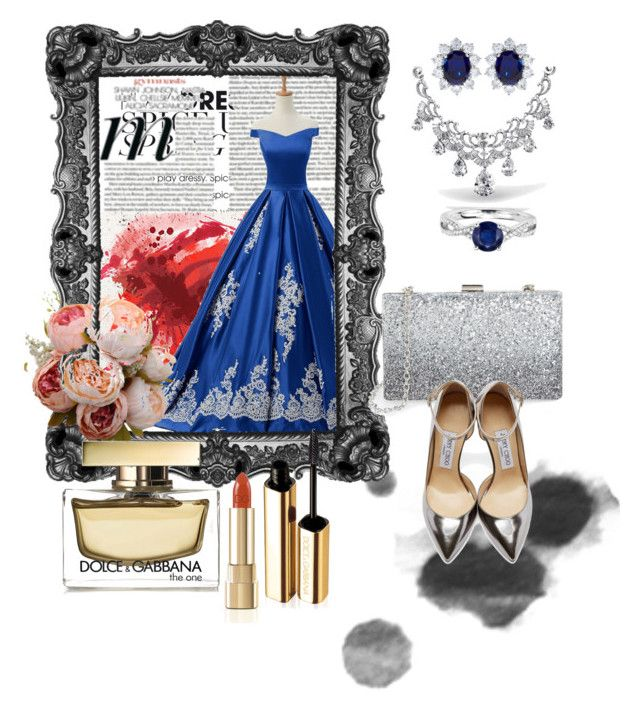 """A royal celebration"" by hend2ten ❤ liked on Polyvore featuring Reception, Sondra Roberts, Jimmy Choo, Bling Jewelry, CARAT*, Blue Nile and Dolce&Gabbana"