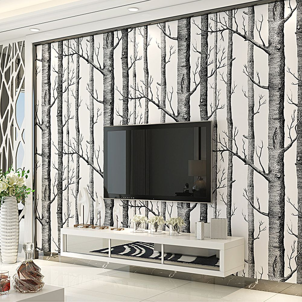 Aliexpress Com Buy Black White Birch Tree Wallpaper For Bed