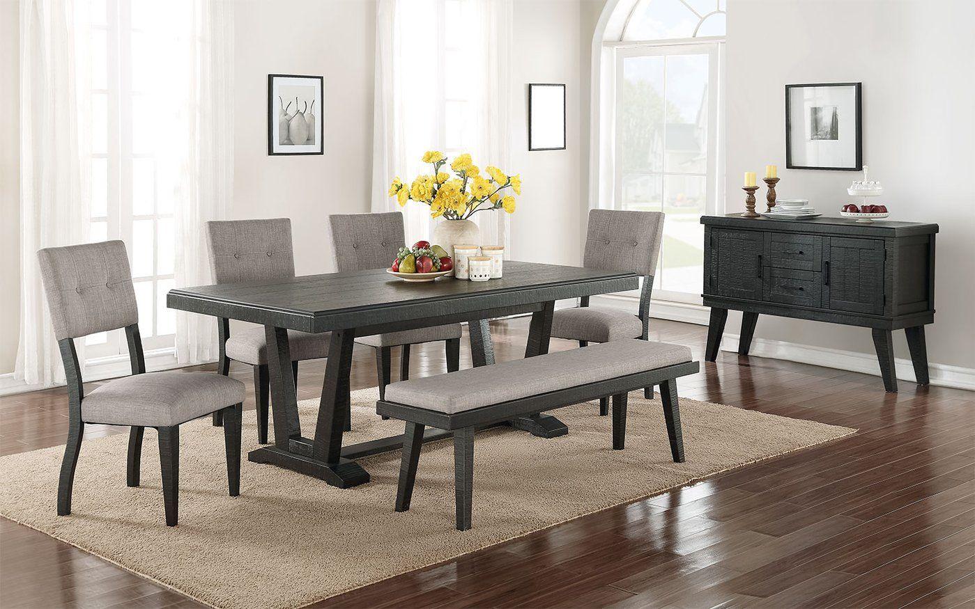 Imari 7 Piece Dining Room Set Black And Grey Cheap Dining Room