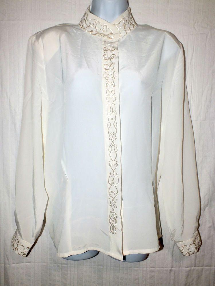 Christie & Jill Ivory Long Sleeve Women's Top Blouse Shirt Size 14 #ChristieJill #ButtonDownShirt #Career