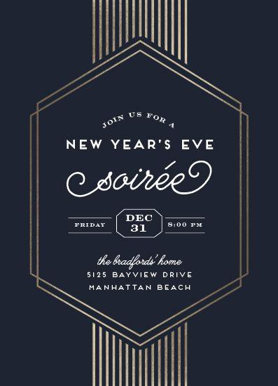 Digital Invitations New Year S Eve Soiree Party Invite Design New Years Eve Invitations Event Invitation Design