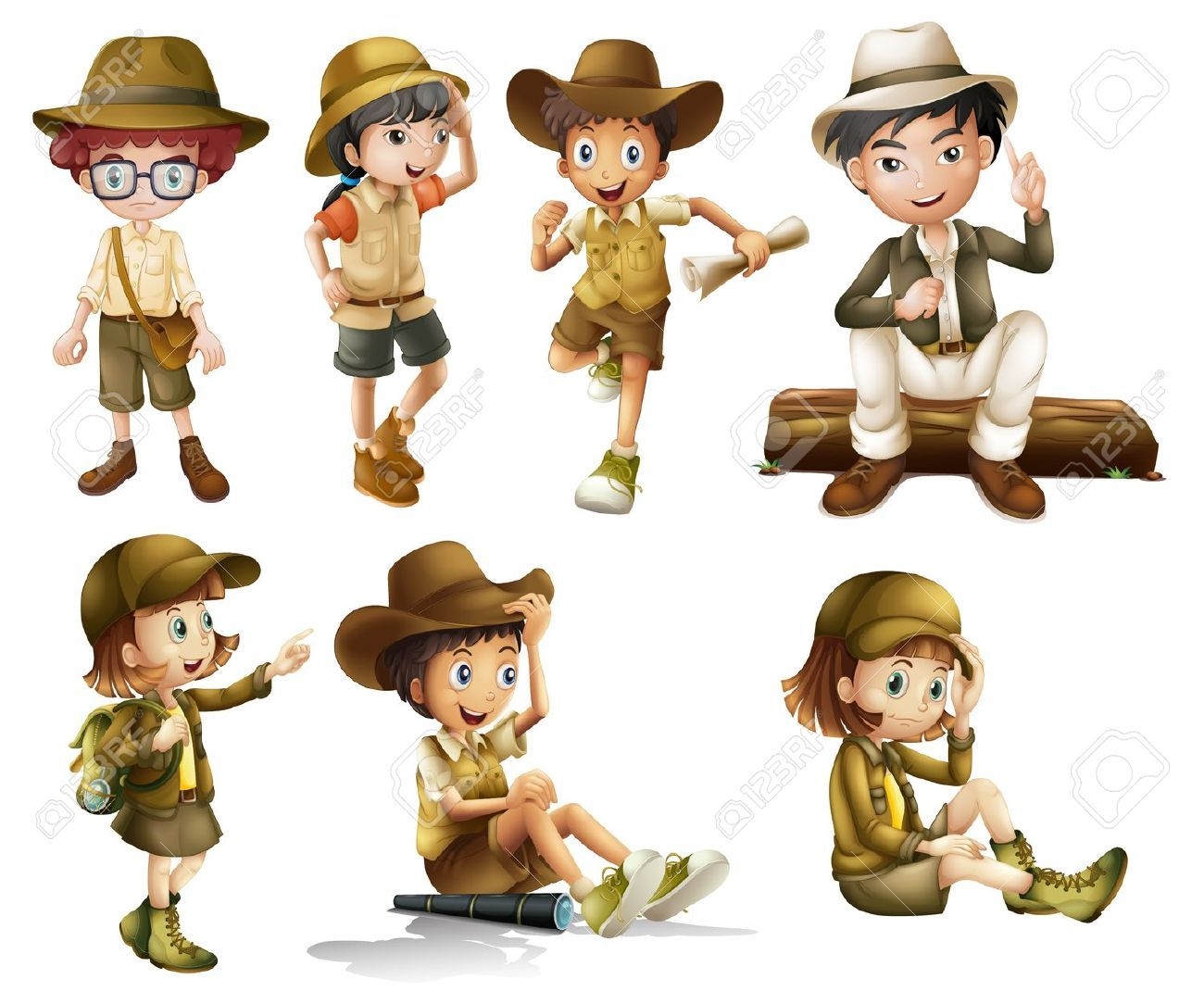 16930144-Illustration-of-boys-and-girls-in-safari-costume-on-a-white ...