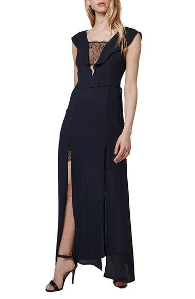 Free shipping and returns on Topshop Lace Trim Flutter Sleeve Maxi Dress at Nordstrom.com. Elegant, sheer lace graces the plunging neckline and peeks from both leg slits of a sophisticated maxi dress that's cinched at the waist by a self-tie tassel cord. A fluttery lapel adds to the romance while a deep V-back keeps the look sultry.