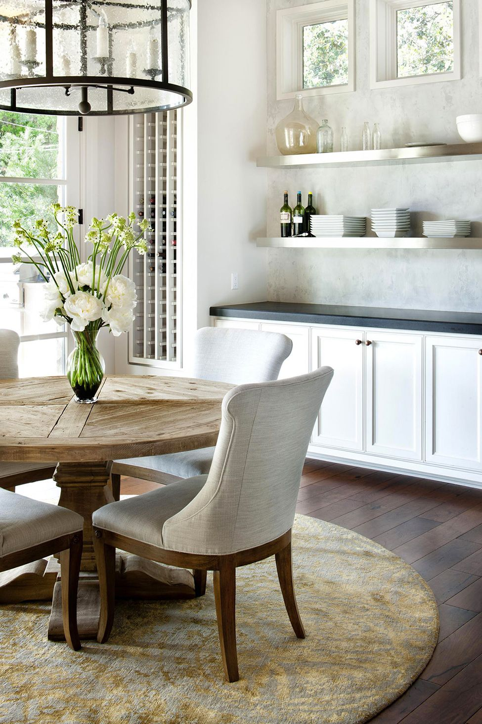 Modern rustic dining room table  Flowers on the Table Luxury Home in Texas When Rustic Meets Modern