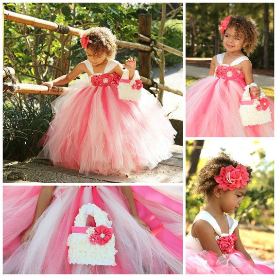 Beautiful coral and ivory flower girl dress headband and for Matching wedding and flower girl dresses