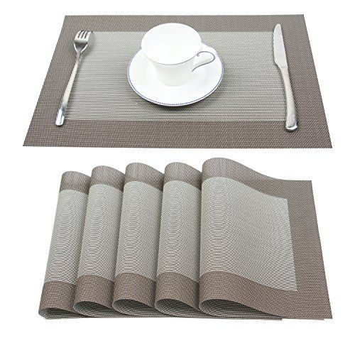 Placemats Set Of 6 Homcomoda Plastic Dining Table Mats Heat Resistant Pvc Washable Place Mats For Kitchen Table Kitchen Table Settings Table Mats Kitchen Table