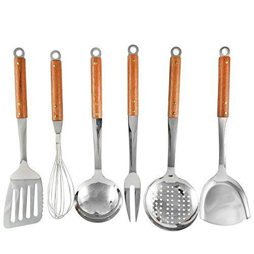 Seccuta Stainless Steel Kitchen Utensils Sets Cooks Essentials Tools With  Red Wood Handles Utensil Set Of 6