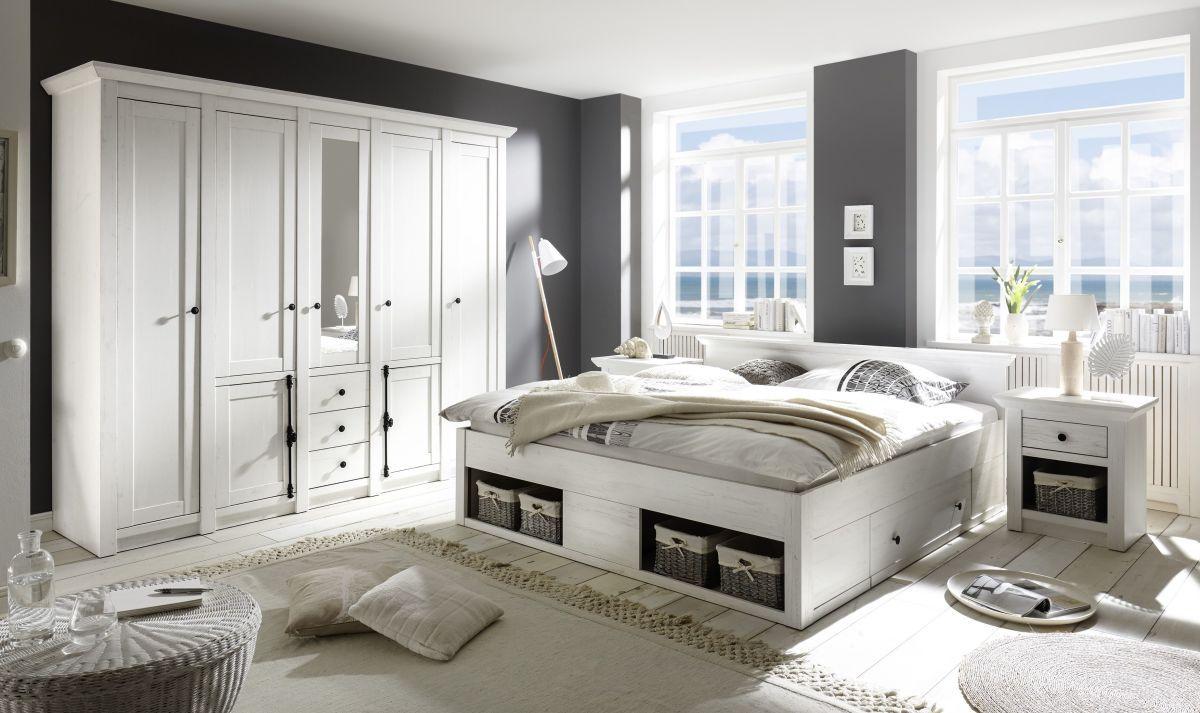 Schlafzimmer Mit Bett 180 X 200 Cm Pinie Weiss Imv Westerland Holz ...