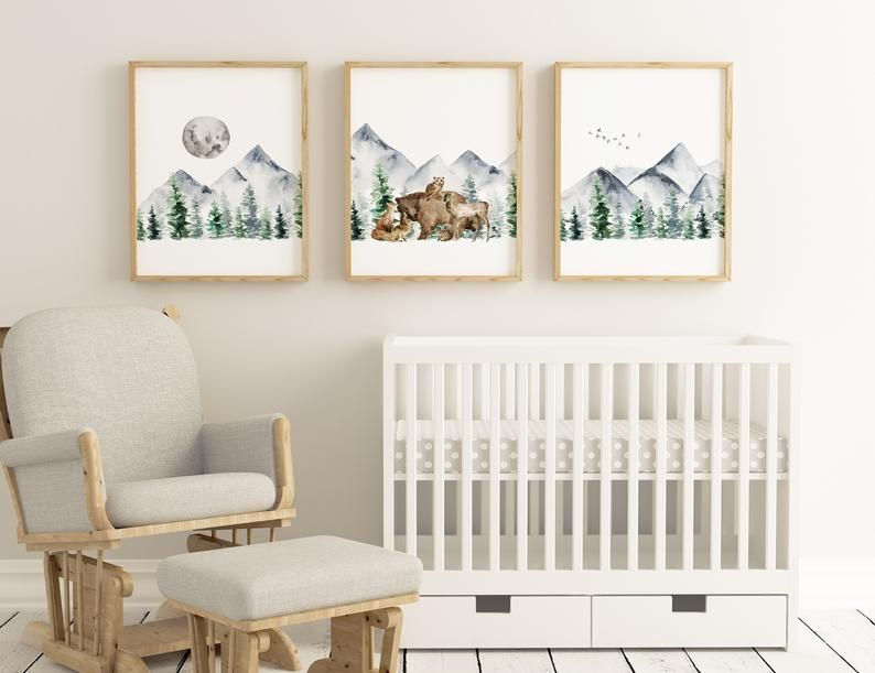 Woodland Nursery Prints, Boy Wall Art, Nursery Wal