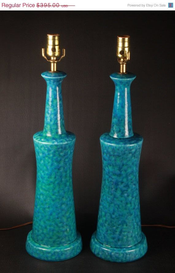 25% Off Sale - Pair of Vintage Mid Century Modern Turquoise Blue Green Italian Art Pottery Table Lamps - c.1950's Raymor Bitossi era