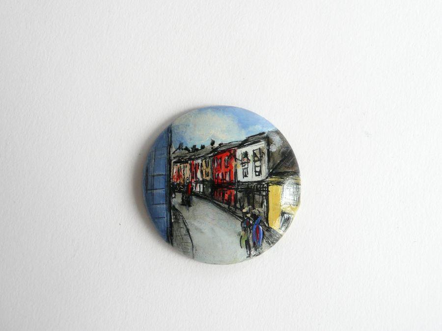 "DUBLIN STREET, PUBS; Size of a wooden disc: 2"" in diameter"